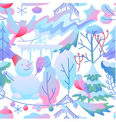 seamless pattern with winter items vector image