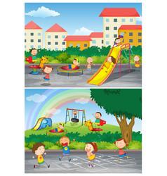 set children at playground vector image
