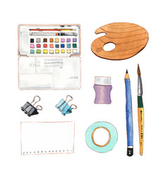 Set isolated watercolor pencil painting brush vector