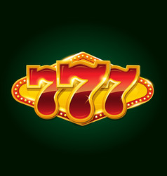 set of 777 gold casino jackpot sign vector image
