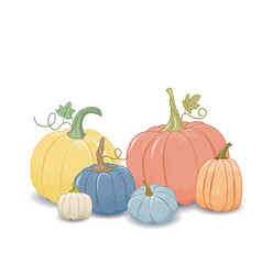 Set pumpkins cartoon style isolated element vector