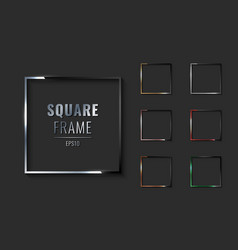 set square metallic border frame silver vector image