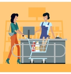 Shopping in Grocery Store vector