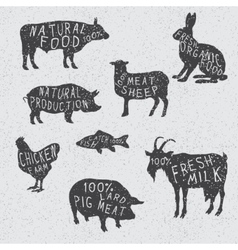 Silhouettes collection of the farm animals vector