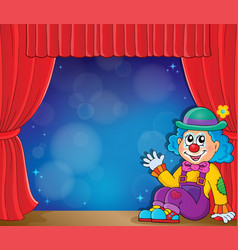 Sitting clown theme image 3 vector