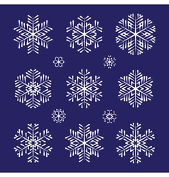 Sketch white snowflakes set vector