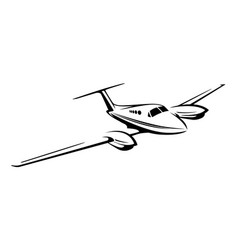 small private twin engine airplane vector image