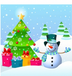 Snowman and christmas tree vector