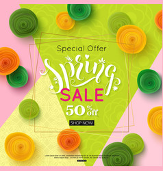 spring sale banner design special offer for vector image