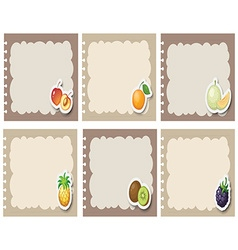 Square labels in gray with fruits vector