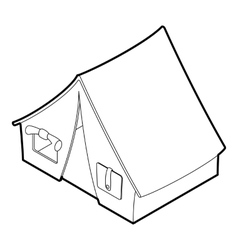 Tent icon outline isometric style vector