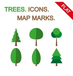 Tree icon set Map marks vector image