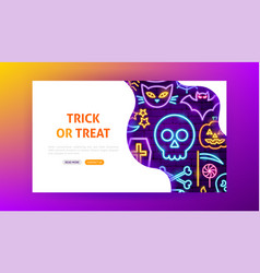 trick or treat neon landing page vector image