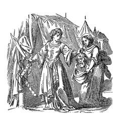 Vintage drawing biblical judith putting head vector