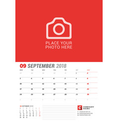 Wall calendar planner for 2018 year september vector