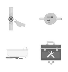 Water meter bath and other equipmentplumbing set vector