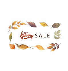 watercolor autumn sale card template design vector image