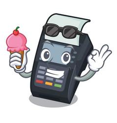 With ice cream machine edc isolated in mascot vector