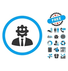 Worker Smile Flat Icon with Bonus vector image