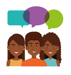 Young people with speech bubbles avatars group vector