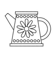 gardening water can with flower decoration handle vector image