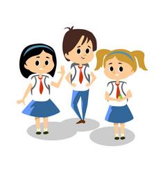 happy kids in blue hight school uniform cute vector image
