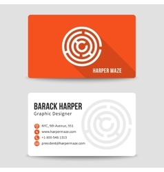 Modern business card template with maze vector image vector image