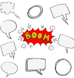 Set of hand drawn comic style speech bubbles vector image