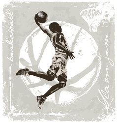 slam jam basket ball vector image vector image