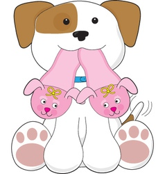 cute puppy slippers vector image vector image