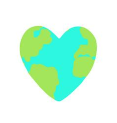 heart shaped planet earth vector image