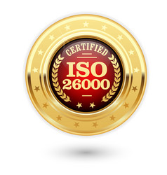 iso 26000 certified medal - social responsibility vector image vector image