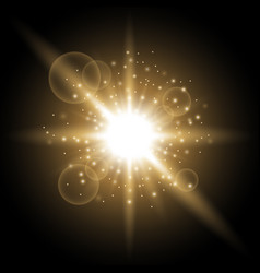 light circle with stardust golden color vector image vector image