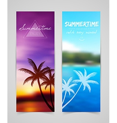 Palm silhouettes cards vector image vector image