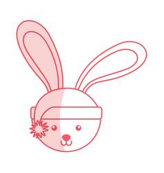Shadow christmas rabbit face cartoon vector