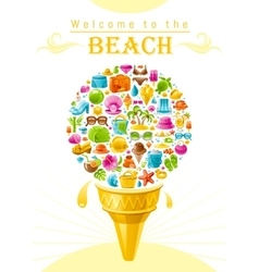 Beach sea summer design with travel symbols icon vector image vector image