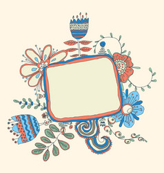 retro floral background frame with flowers vector image vector image
