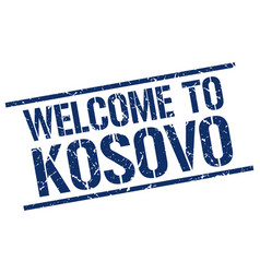 welcome to kosovo stamp vector image vector image