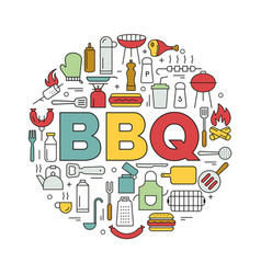 barbecue icons in circle icon line style vector image vector image