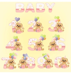cute baby birthday digits vector image