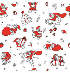 cute set sketch seamless pattern of funny vector image vector image