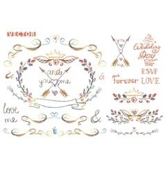 Cute wedding template kitFloral Decor element vector image