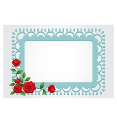 Red Roses Square Shape Frame and Border vector image