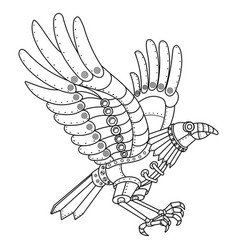 Steam punk style crow coloring book vector