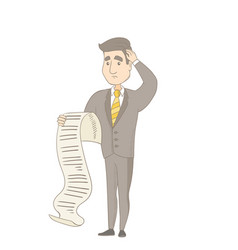 young caucasian accountant holding a long bill vector image