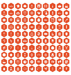 100 beauty product icons hexagon orange vector