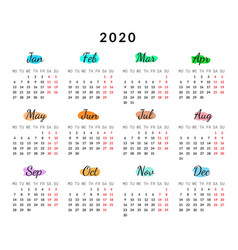2020 year creative calendar isolated on white vector image