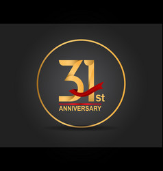31 anniversary design golden color with ring vector