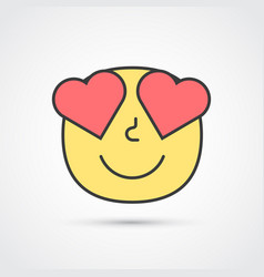 Amour emoji face with big eyes eps10 vector