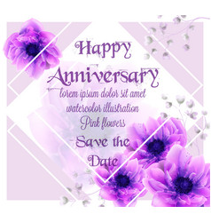 anniversary card with pink flowers watercolor vector image